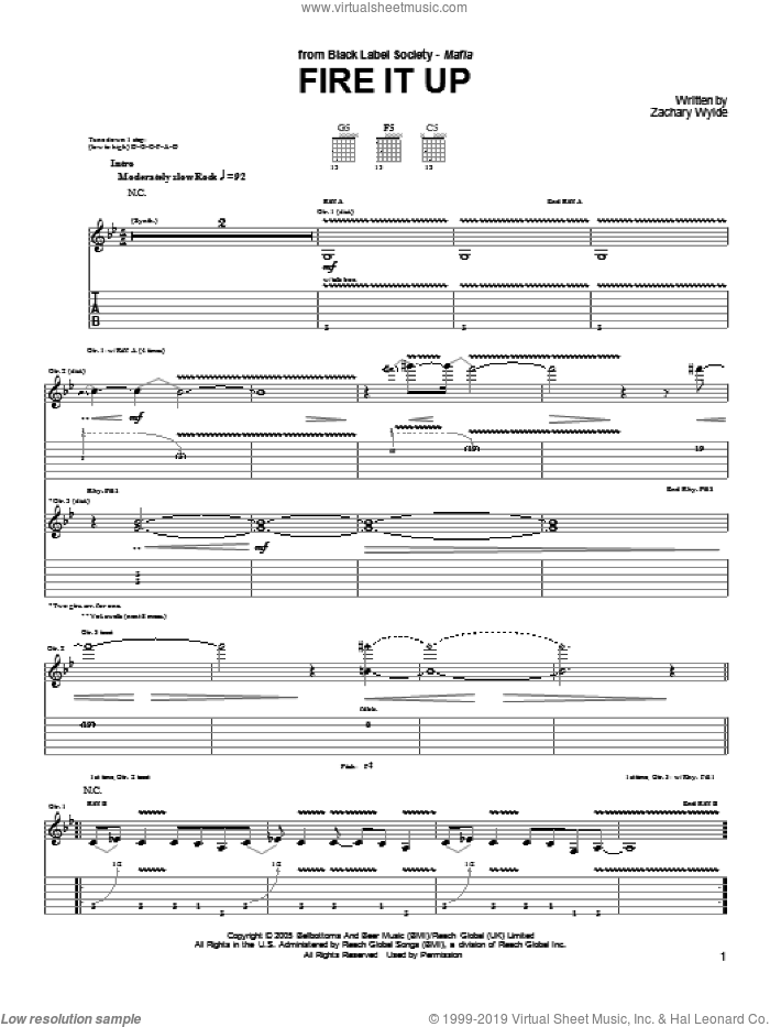 Fire It Up sheet music for guitar (tablature) by Black Label Society and Zakk Wylde. Score Image Preview.