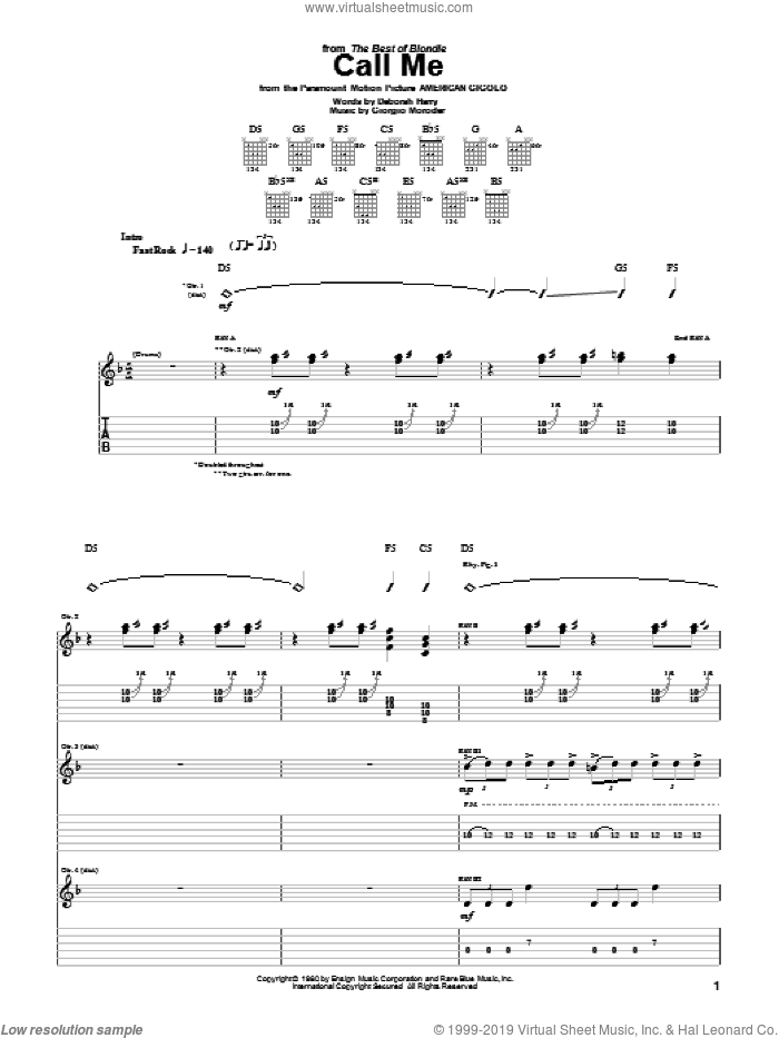 Call Me sheet music for guitar (tablature) by Blondie and Giorgio Moroder. Score Image Preview.