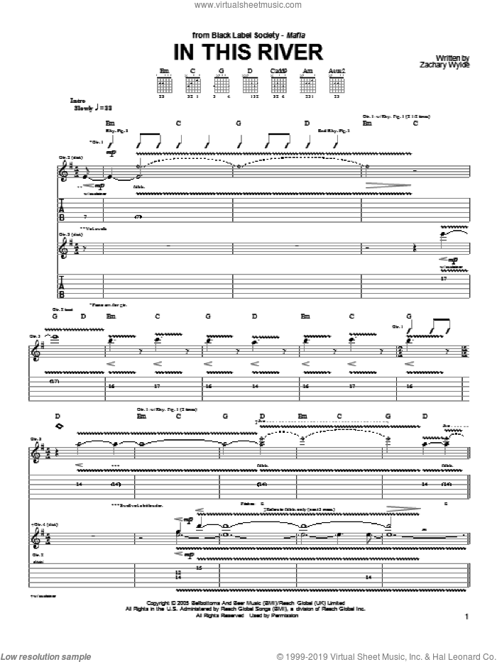 In This River sheet music for guitar (tablature) by Black Label Society and Zakk Wylde. Score Image Preview.
