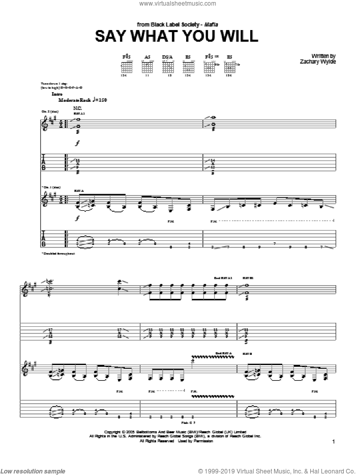 Say What You Will sheet music for guitar (tablature) by Black Label Society and Zakk Wylde. Score Image Preview.