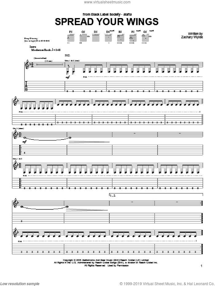 Spread Your Wings sheet music for guitar (tablature) by Black Label Society and Zakk Wylde, intermediate skill level