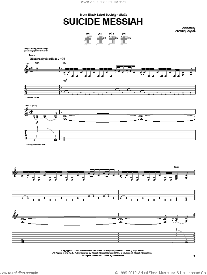 Suicide Messiah sheet music for guitar (tablature) by Black Label Society and Zakk Wylde. Score Image Preview.