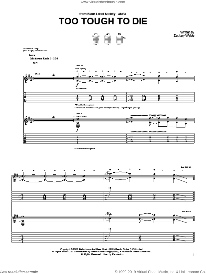 Too Tough To Die sheet music for guitar (tablature) by Black Label Society and Zakk Wylde. Score Image Preview.
