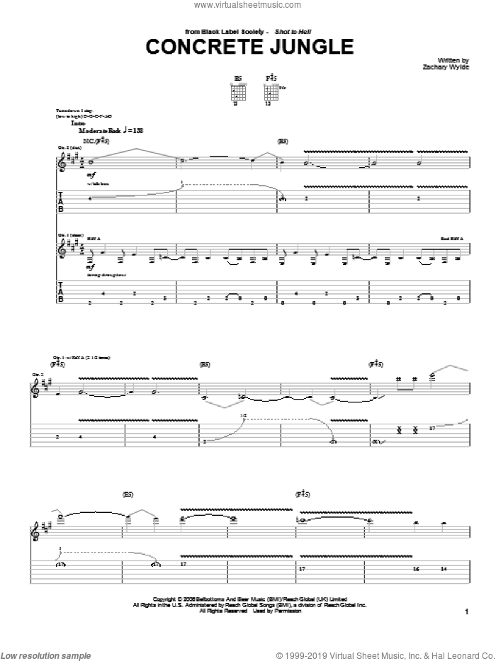 Concrete Jungle sheet music for guitar (tablature) by Black Label Society and Zakk Wylde. Score Image Preview.