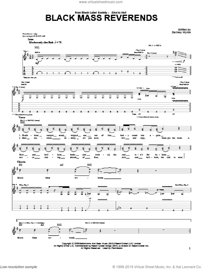 Black Mass Reverends sheet music for guitar (tablature) by Black Label Society and Zakk Wylde. Score Image Preview.
