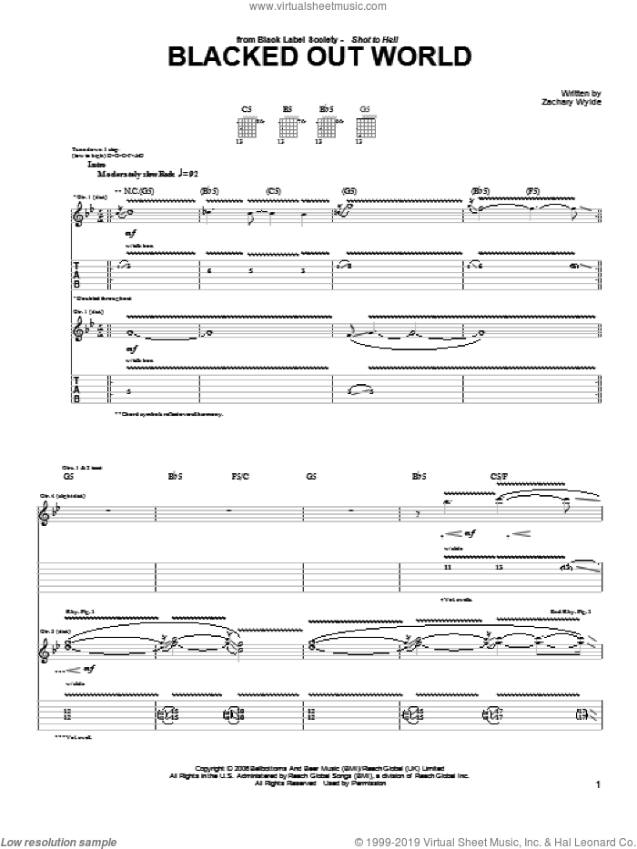 Blacked Out World sheet music for guitar (tablature) by Black Label Society and Zakk Wylde