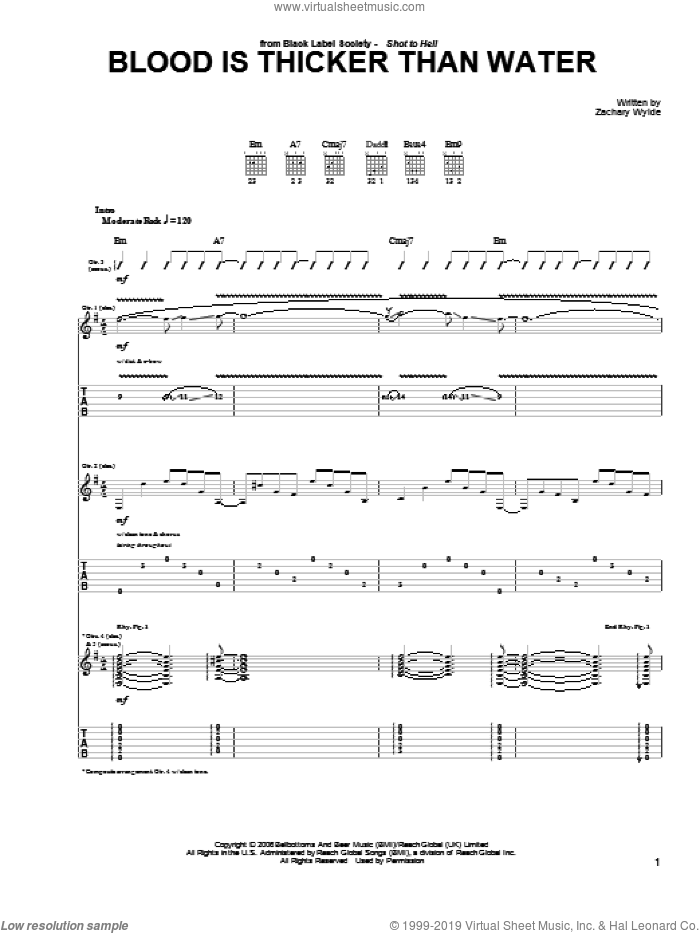 Blood Is Thicker Than Water sheet music for guitar (tablature) by Black Label Society and Zakk Wylde. Score Image Preview.