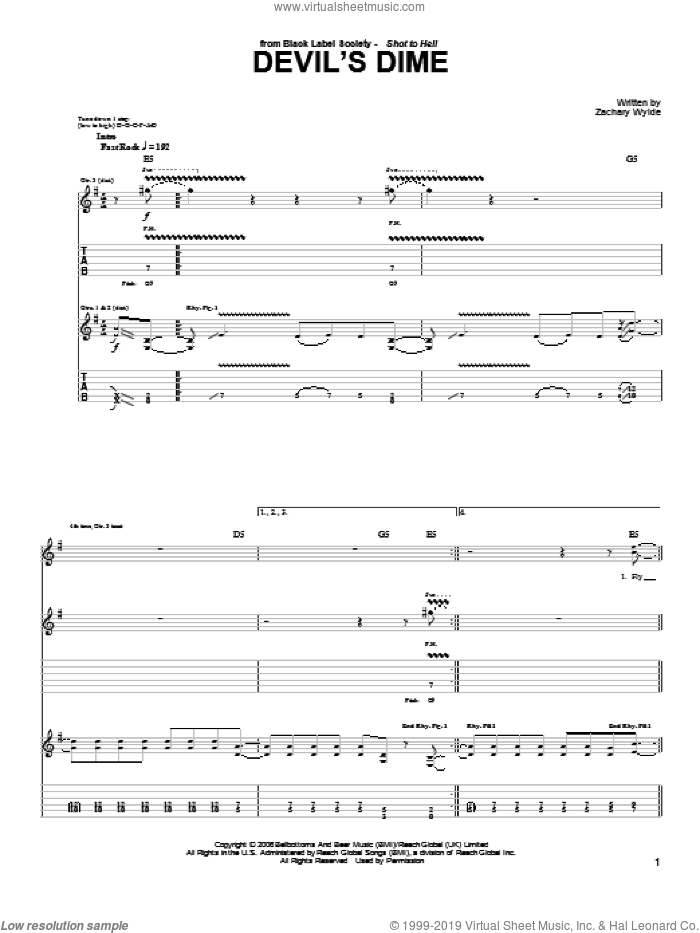 Devil's Dime sheet music for guitar (tablature) by Black Label Society and Zakk Wylde. Score Image Preview.