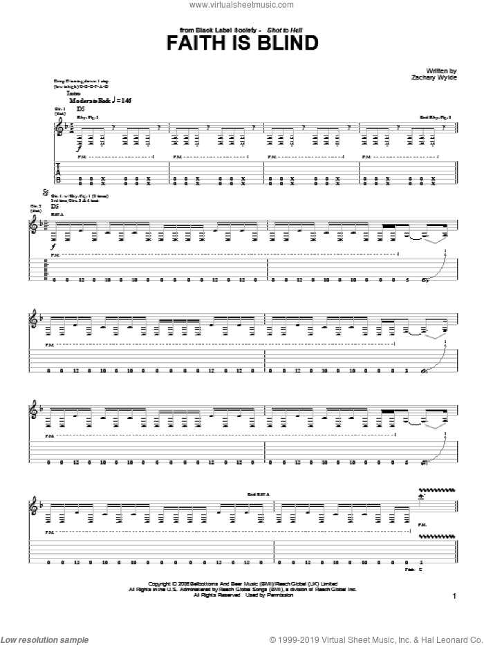 Faith Is Blind sheet music for guitar (tablature) by Black Label Society and Zakk Wylde. Score Image Preview.