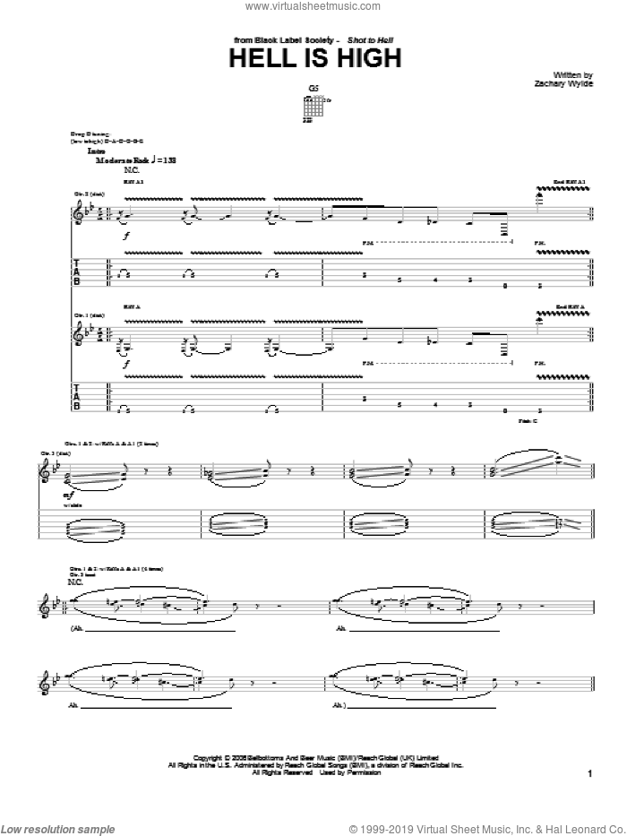 Hell Is High sheet music for guitar (tablature) by Black Label Society and Zakk Wylde. Score Image Preview.