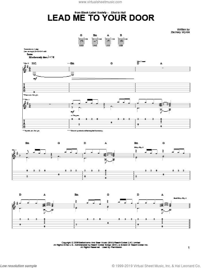 Lead Me To Your Door sheet music for guitar (tablature) by Black Label Society and Zakk Wylde, intermediate skill level