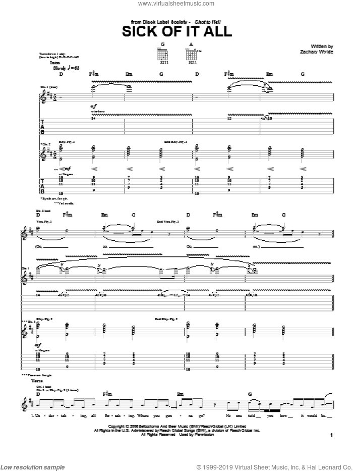 Sick Of It All sheet music for guitar (tablature) by Black Label Society and Zakk Wylde, intermediate. Score Image Preview.