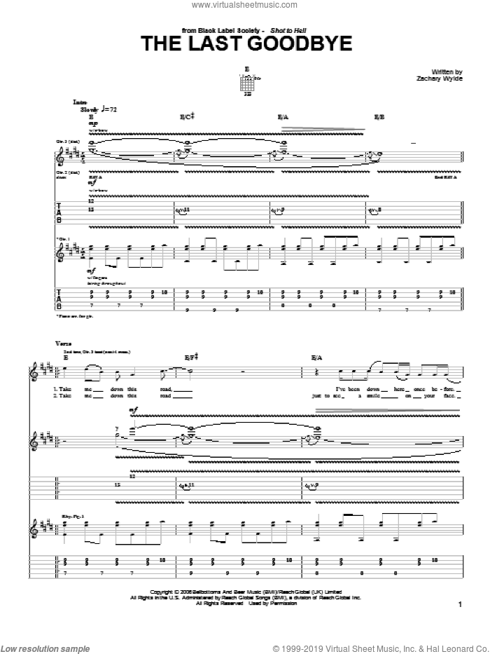 The Last Goodbye sheet music for guitar (tablature) by Black Label Society and Zakk Wylde. Score Image Preview.