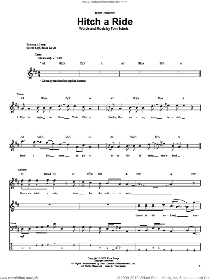 Hitch A Ride sheet music for bass (tablature) (bass guitar) by Boston. Score Image Preview.