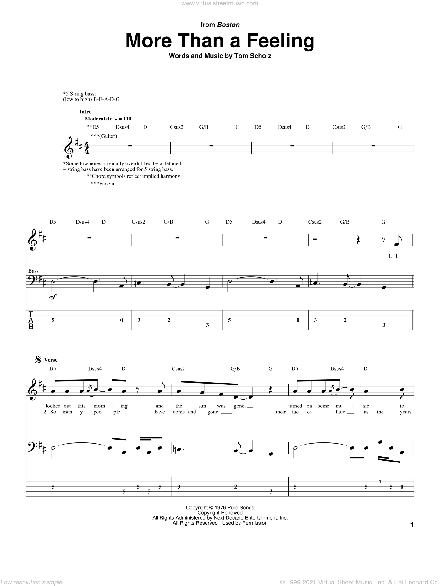 More Than A Feeling sheet music for bass (tablature) (bass guitar) by Tom Scholz