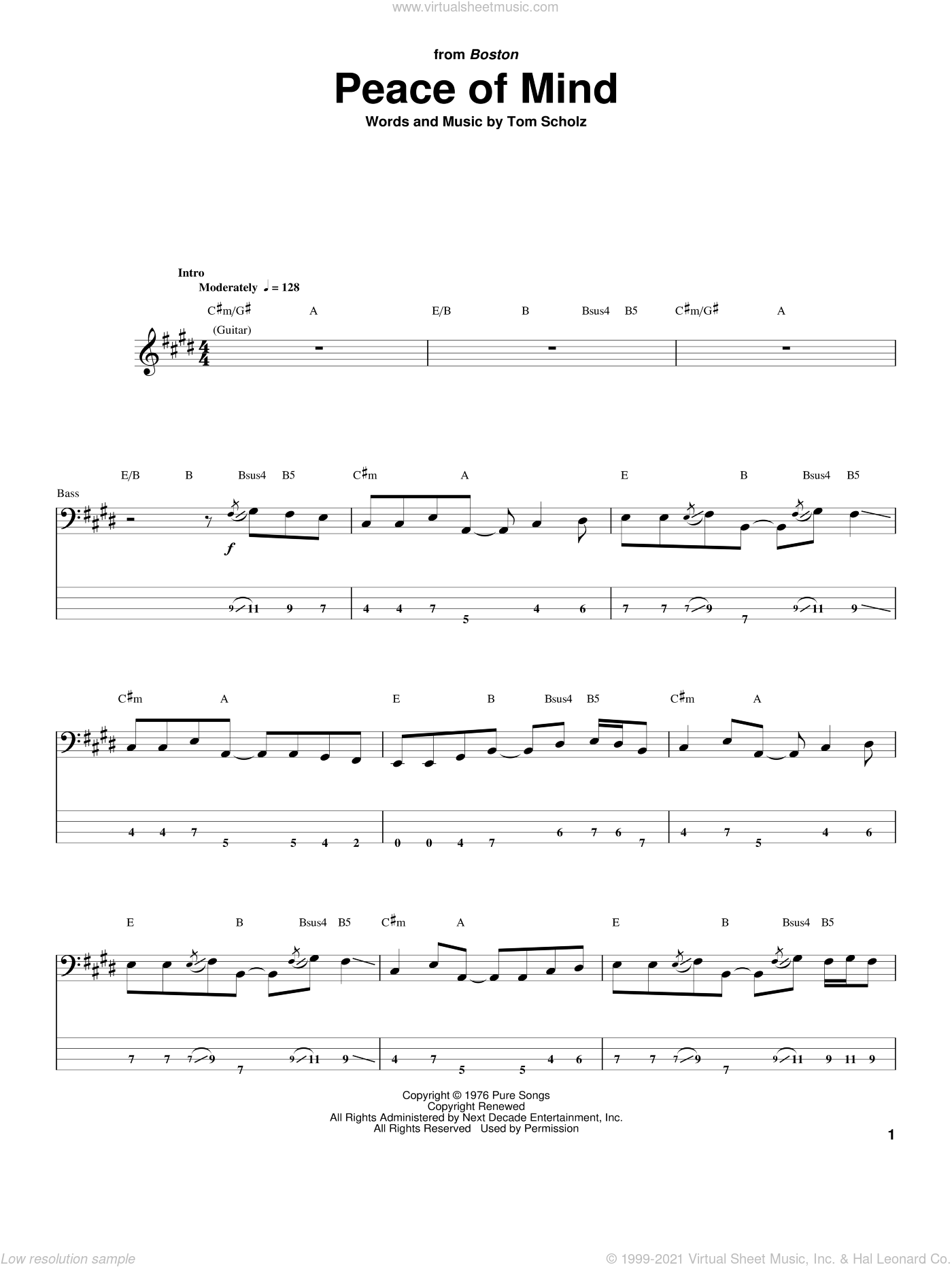 Peace Of Mind sheet music for bass (tablature) (bass guitar) by Boston and Tom Scholz, intermediate skill level