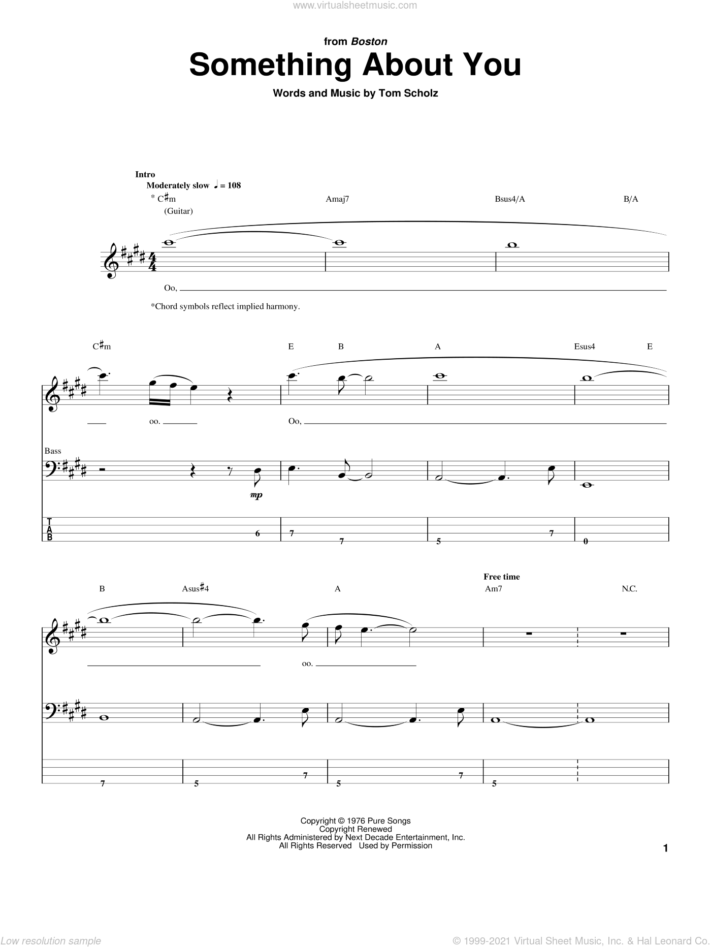 Something About You sheet music for bass (tablature) (bass guitar) by Tom Scholz. Score Image Preview.