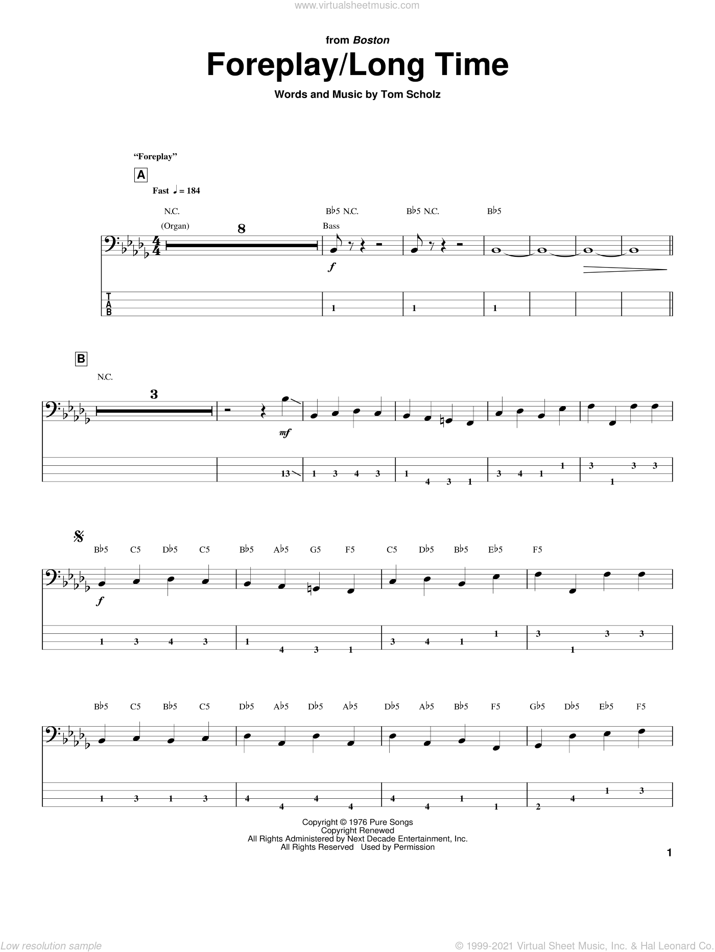 Foreplay/Long Time (Long Time) sheet music for bass (tablature) (bass guitar) by Boston and Tom Scholz, intermediate skill level