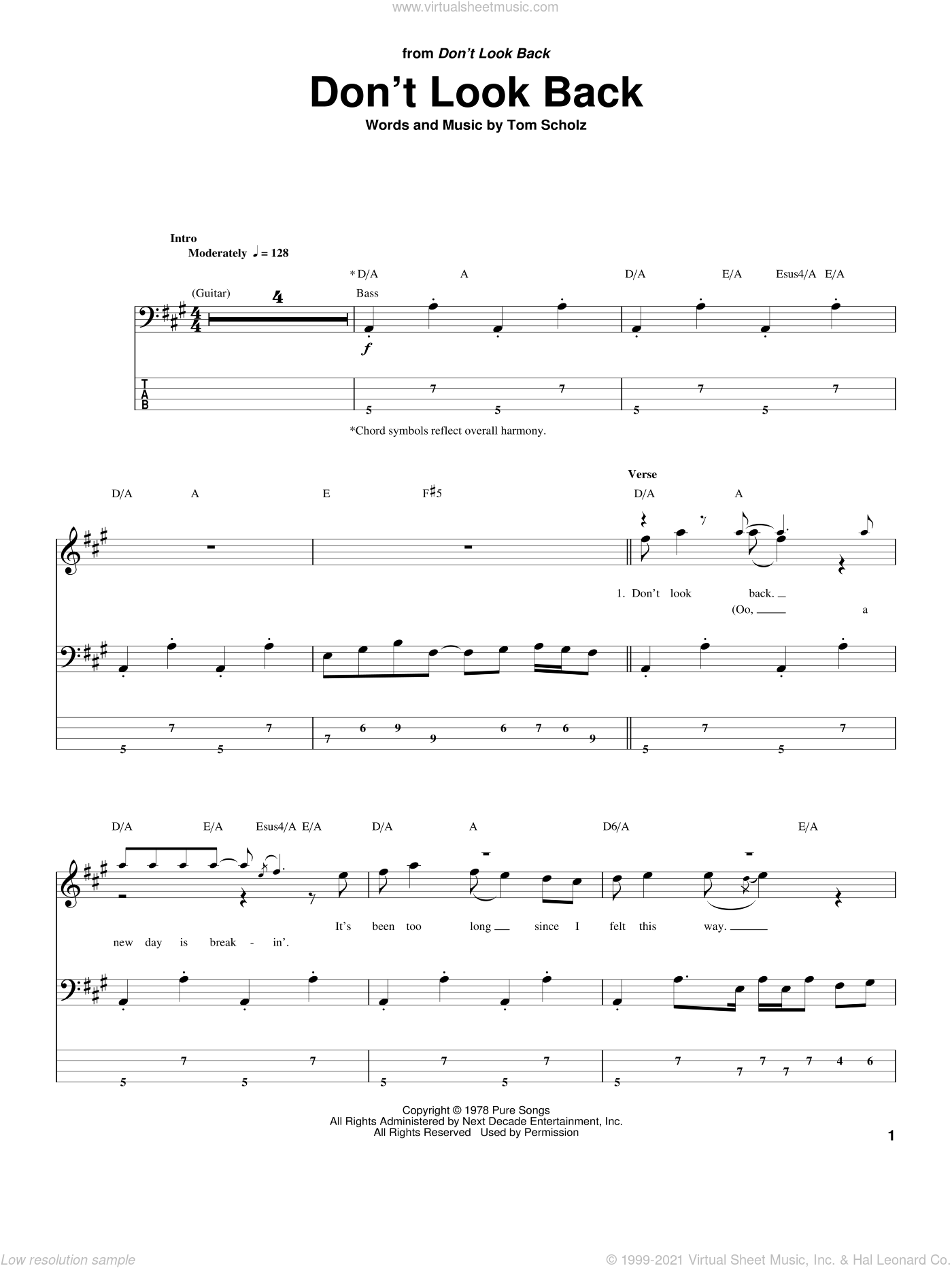 Don't Look Back sheet music for bass (tablature) (bass guitar) by Boston and Tom Scholz, intermediate skill level