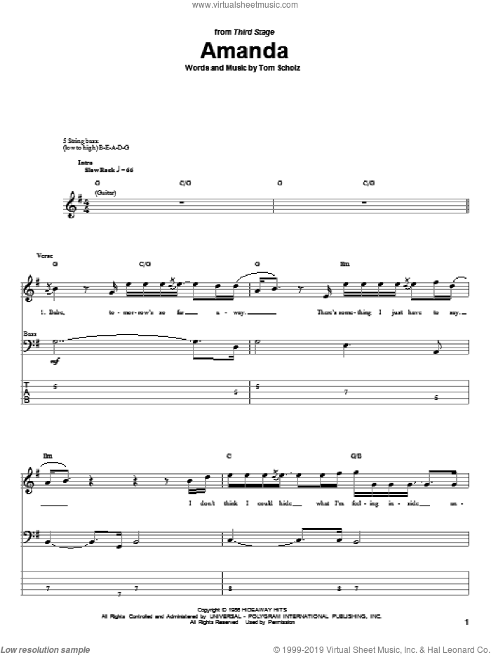 Amanda sheet music for bass (tablature) (bass guitar) by Boston and Tom Scholz, intermediate skill level