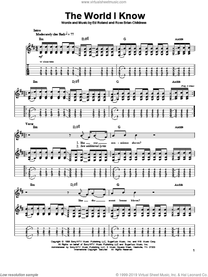 The World I Know sheet music for guitar (tablature, play-along) by Collective Soul, Ed Roland and Ross Childress, intermediate guitar (tablature, play-along). Score Image Preview.