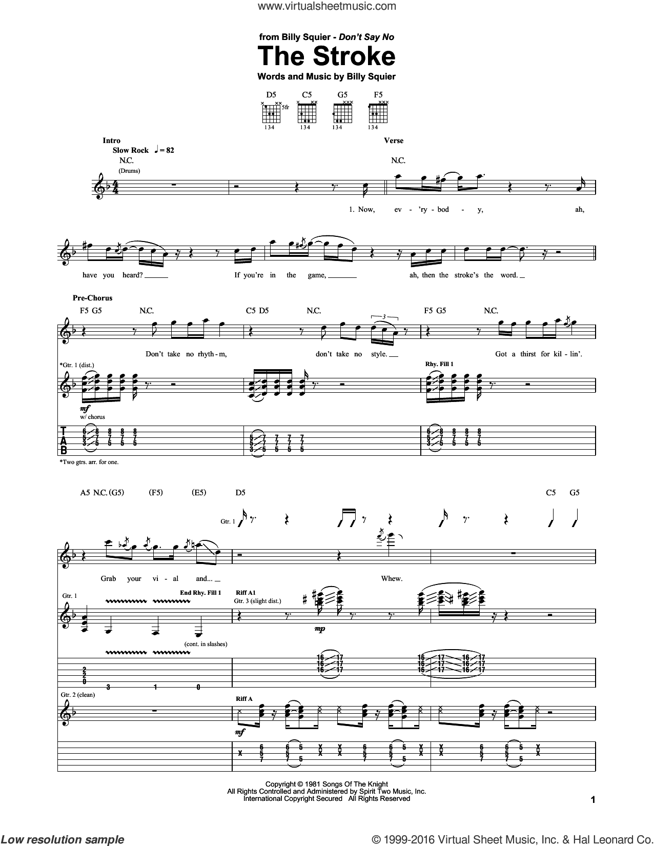 The Stroke sheet music for guitar (tablature) by Billy Squier, intermediate skill level