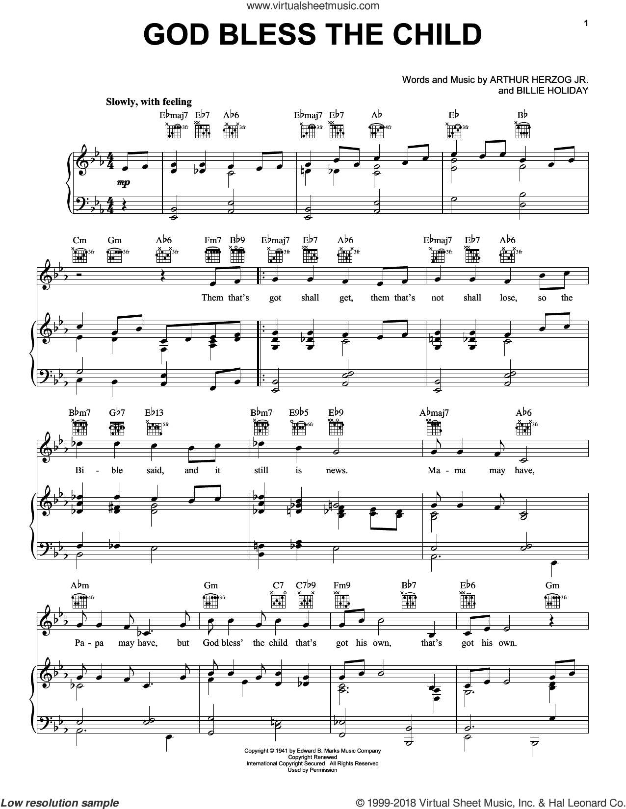 God Bless' The Child sheet music for voice, piano or guitar by Billie Holiday and Arthur Herzog Jr., intermediate skill level