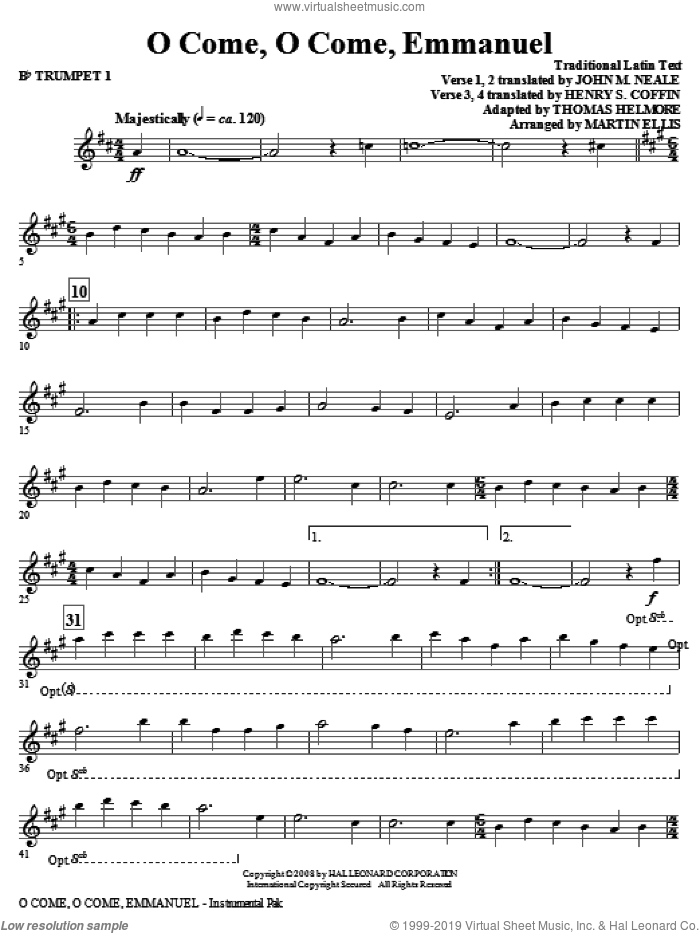 O Come, O Come, Emmanuel (complete set of parts) sheet music for orchestra/band (Brass) by Martin Ellis, intermediate skill level