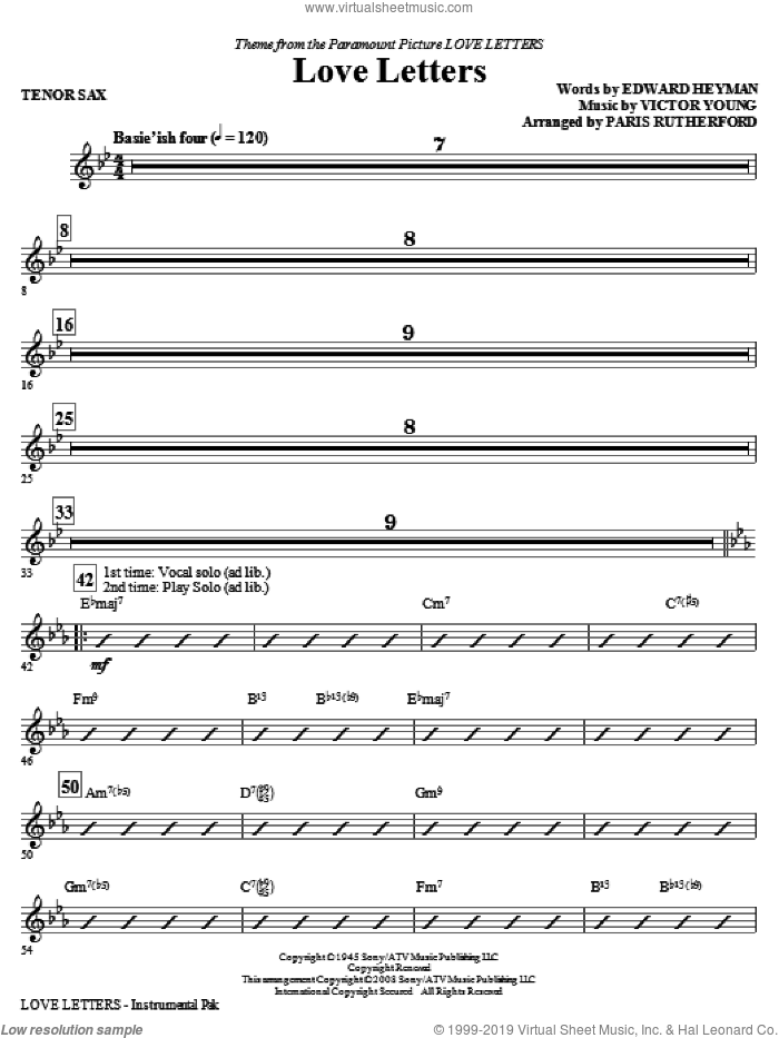 Love Letters (complete set of parts) sheet music for orchestra/band (Rhythm) by Edward Heyman, Victor Young and Paris Rutherford, intermediate