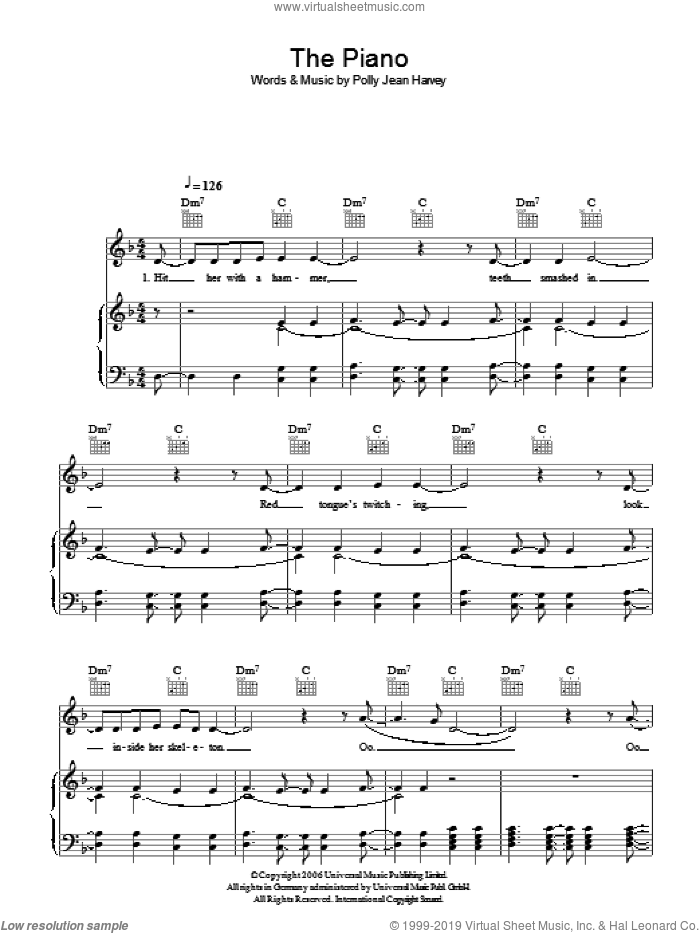 The Piano sheet music for voice, piano or guitar by P J Harvey and Polly Jean Harvey, intermediate voice, piano or guitar. Score Image Preview.