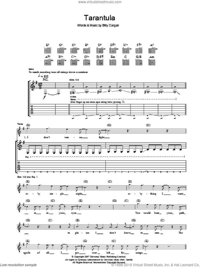 Tarantula sheet music for guitar (tablature) by The Smashing Pumpkins and Billy Corgan, intermediate. Score Image Preview.