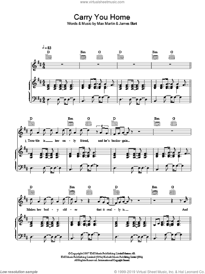 Carry You Home sheet music for voice, piano or guitar by James Blunt and Max Martin, intermediate skill level