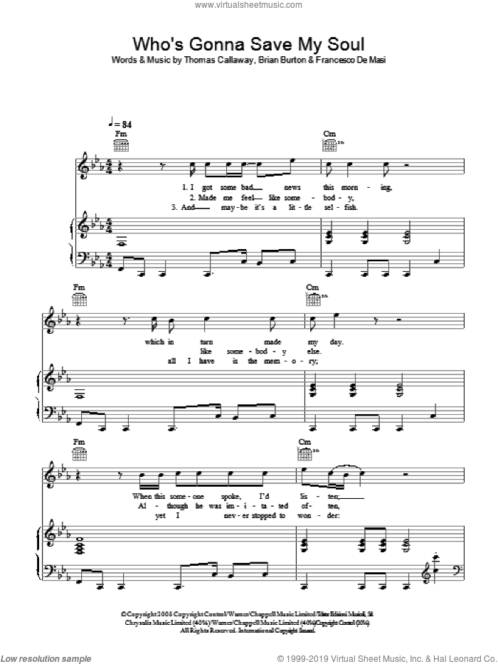 Who's Gonna Save My Soul sheet music for voice, piano or guitar by Gnarls Barkley, Brian Burton, Francesco De Masi and Thomas Callaway, intermediate skill level