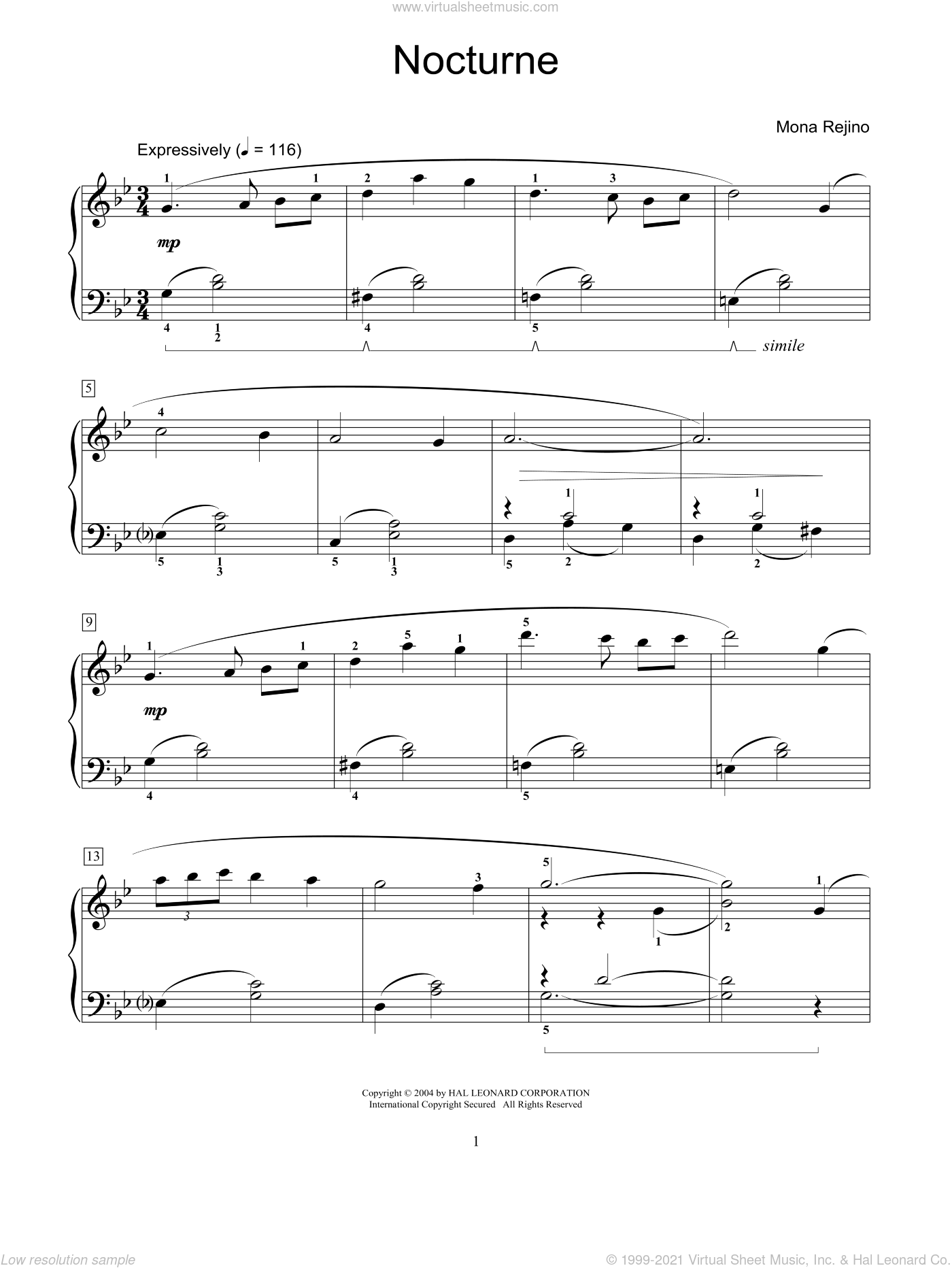 Nocturne sheet music for piano solo (elementary) by Mona Rejino and Miscellaneous. Score Image Preview.