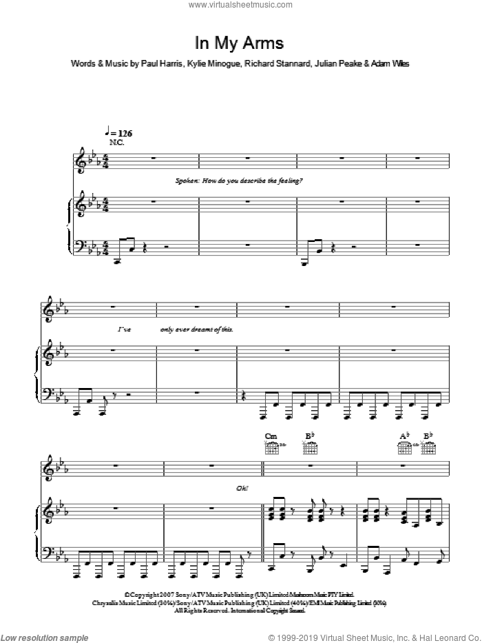 In My Arms sheet music for voice, piano or guitar by Adam Wiles, Kylie Minogue, Julian Peake, Paul Harris and Richard Stannard. Score Image Preview.