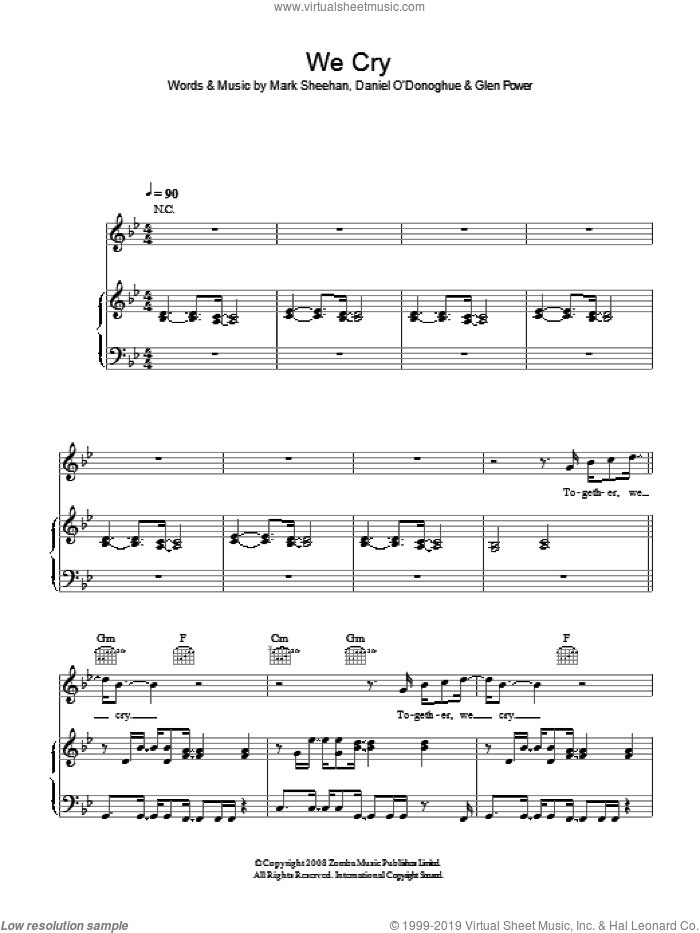 We Cry sheet music for voice, piano or guitar by The Script, Glen Power and Mark Sheehan, intermediate