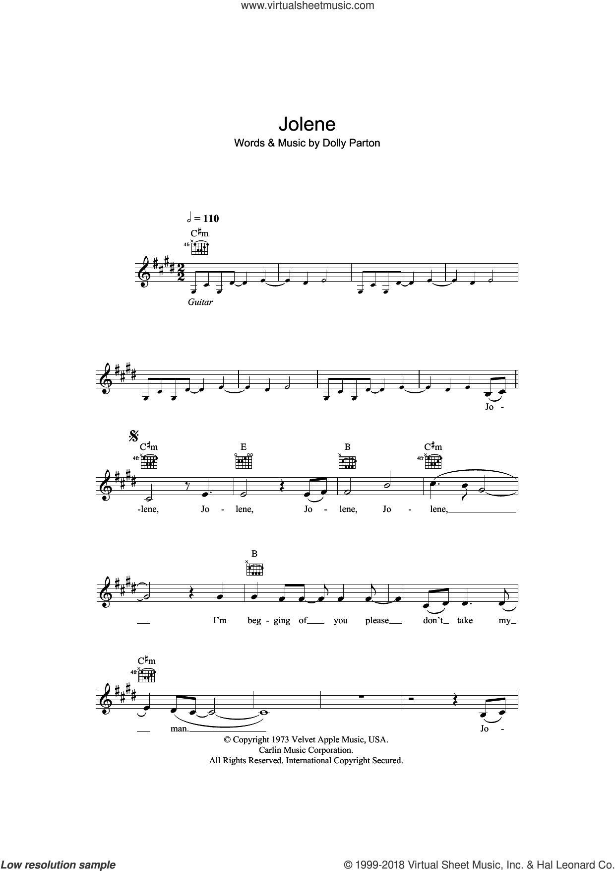 Jolene sheet music for voice and other instruments (fake book) by Dolly Parton, intermediate voice. Score Image Preview.