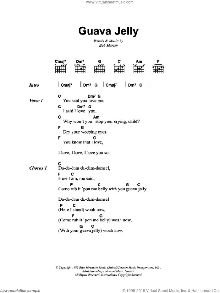 Guava Jelly sheet music for guitar (chords) by Bob Marley