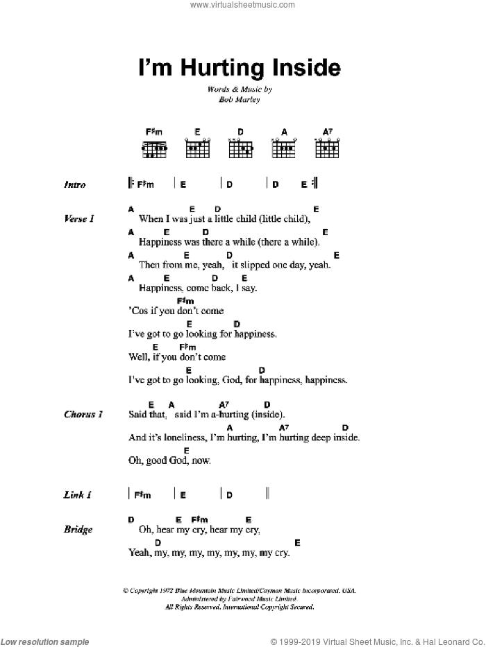 I'm Hurting Inside sheet music for guitar (chords) by Bob Marley, intermediate skill level