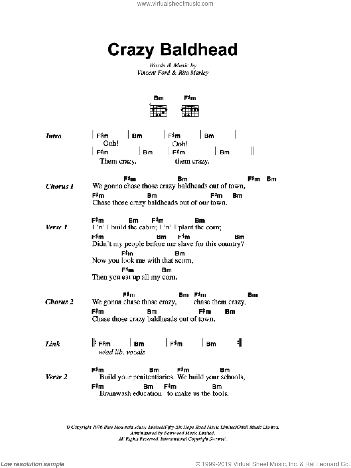 Crazy Baldhead sheet music for guitar (chords) by Bob Marley, Rita Marley and Vincent Ford, intermediate skill level