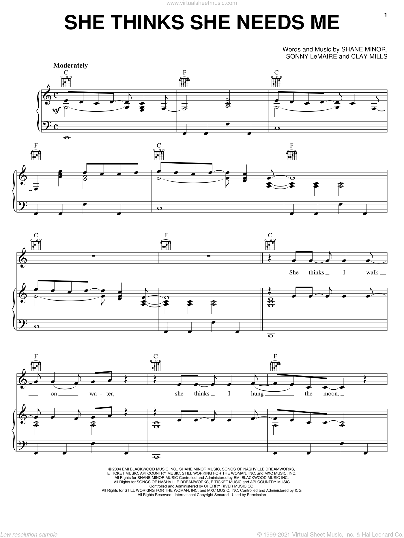 She Thinks She Needs Me sheet music for voice, piano or guitar by Sonny LeMaire, Andy Griggs, Clay Mills and Shane Minor. Score Image Preview.
