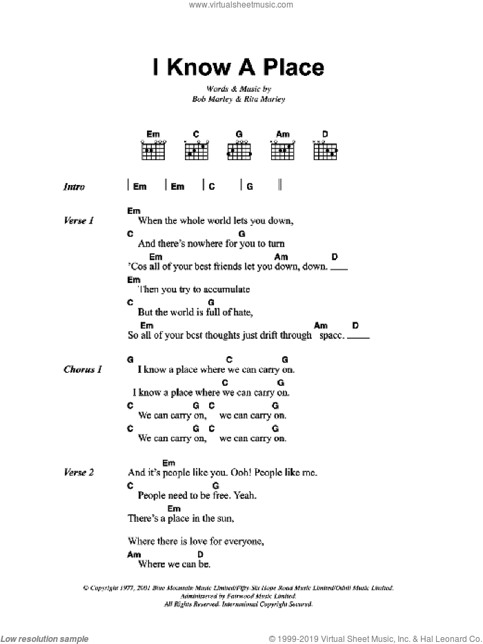 I Know A Place sheet music for guitar (chords) by Rita Marley