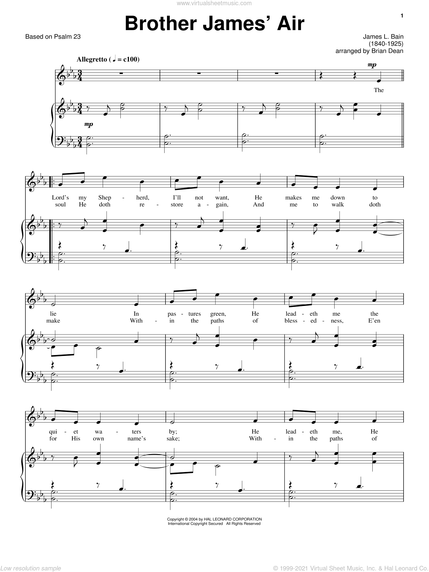 Brother James' Air sheet music for voice and piano by Based on Psalm 23 and Miscellaneous, intermediate skill level