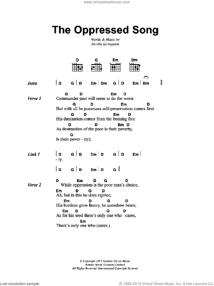 The Oppressed Song sheet music for guitar (chords) by Bob Marley and Neville Livingston, intermediate. Score Image Preview.