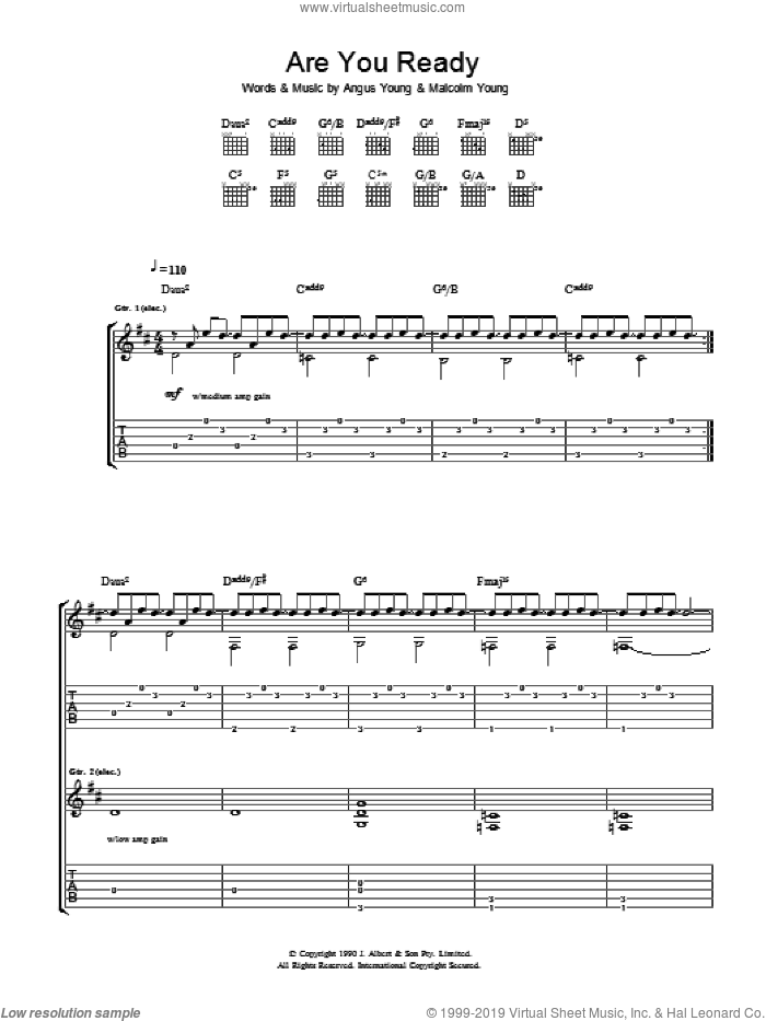 Are You Ready sheet music for guitar (tablature) by AC/DC, intermediate guitar (tablature). Score Image Preview.