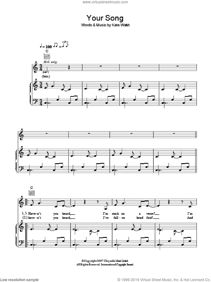 Your Song sheet music for voice, piano or guitar by Kate Walsh. Score Image Preview.