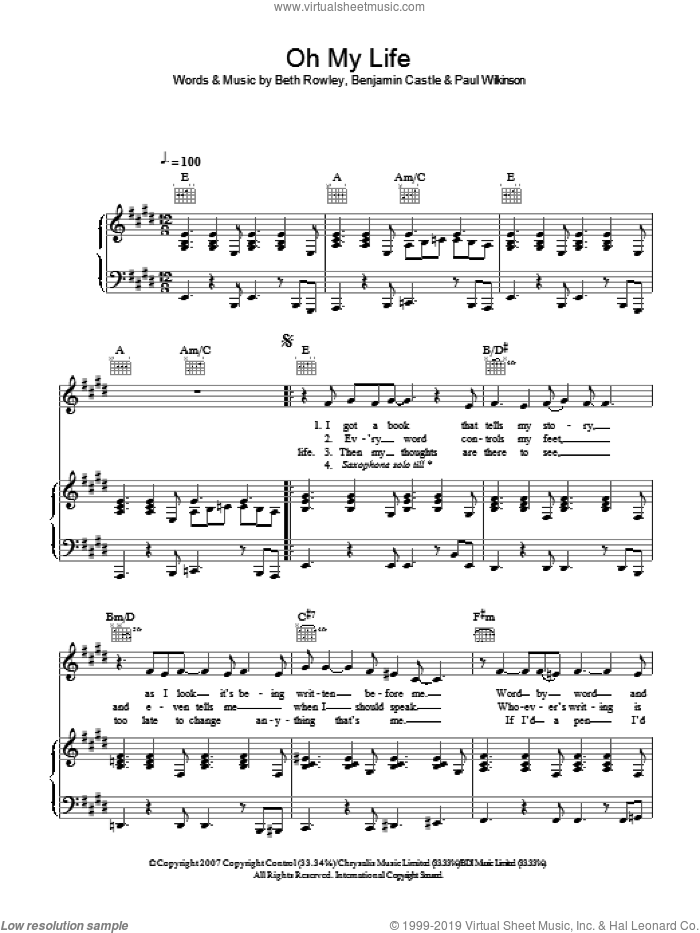 Oh My Life sheet music for voice, piano or guitar by Benjamin Castle. Score Image Preview.