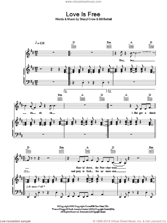 Love Is Free sheet music for voice, piano or guitar by Bill Bottrell and Sheryl Crow. Score Image Preview.