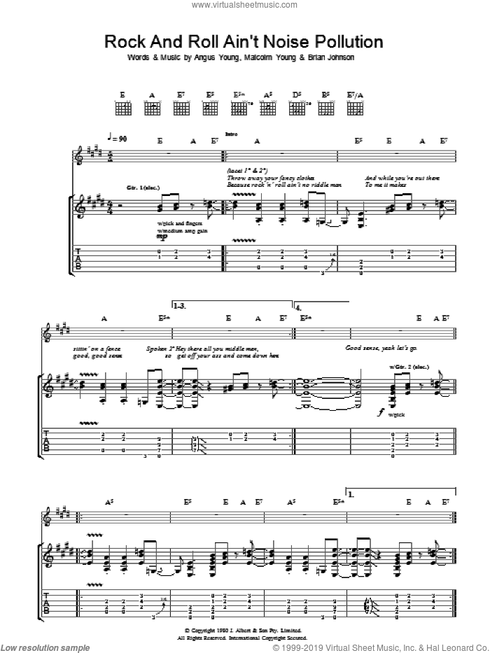 Rock And Roll Ain't Noise Pollution sheet music for guitar (tablature) by Malcolm Young, AC/DC and Angus Young. Score Image Preview.
