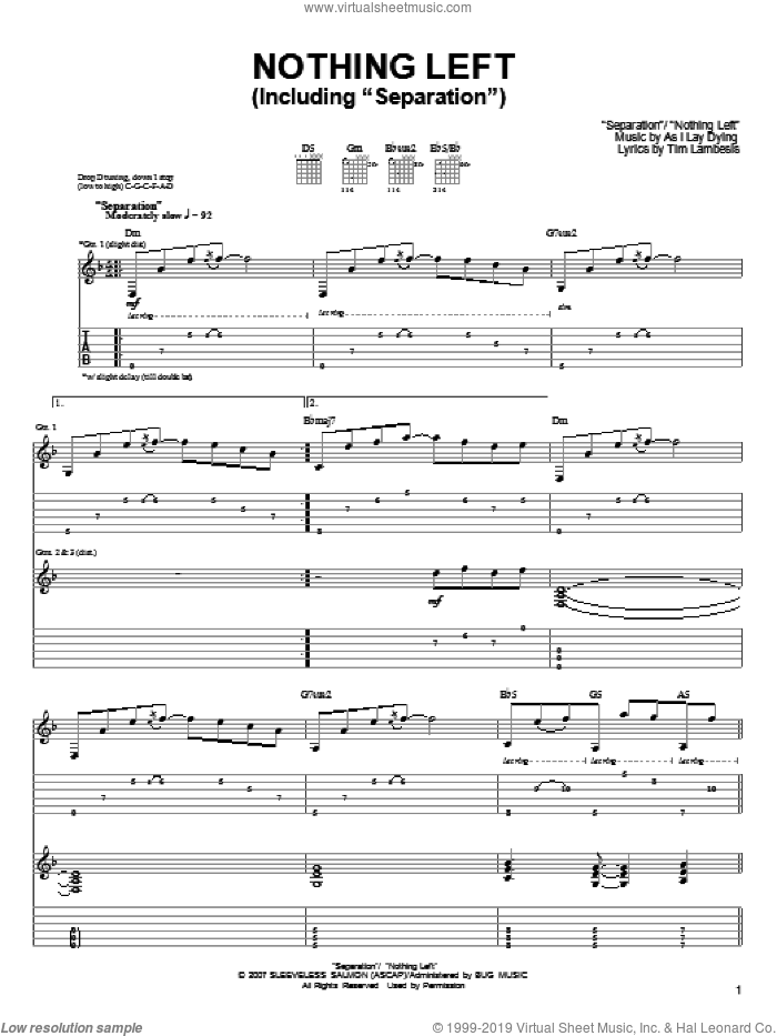 Nothing Left sheet music for guitar (tablature) by As I Lay Dying, Jordan Mancino, Phillip Sgrosso, Sam Hipa and Tim Lambesis, intermediate skill level